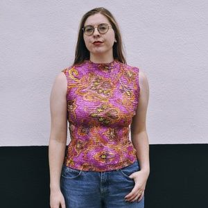 Stretchy pink paisley 90s tank